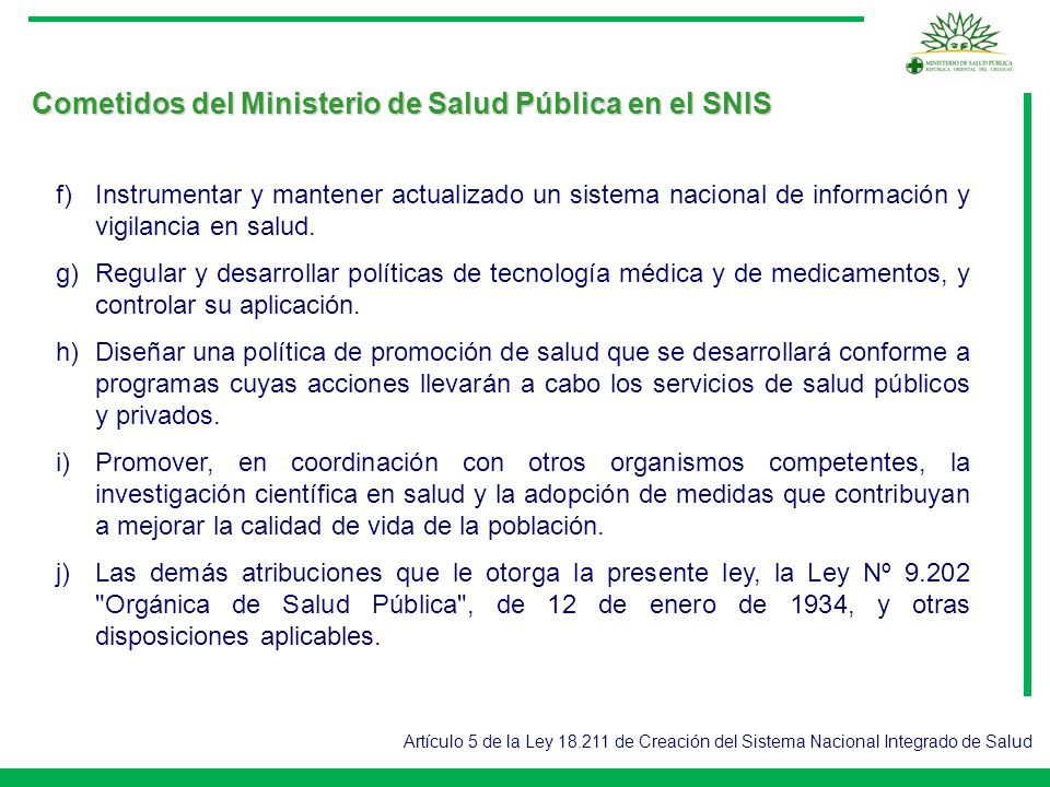Cometidos del Ministerio de Salud Pública en el SNIS