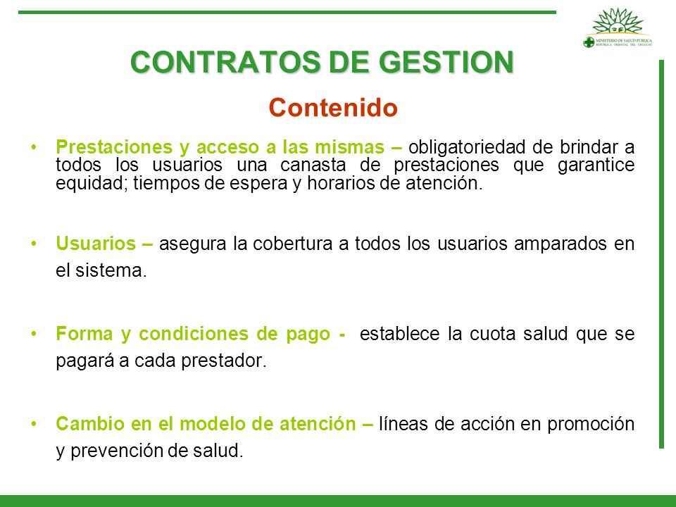 CONTRATOS DE GESTION Contenido.