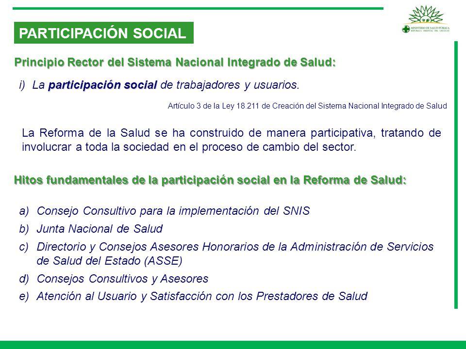 PARTICIPACIÓN SOCIAL Principio Rector del Sistema Nacional Integrado de Salud: i) La participación social de trabajadores y usuarios.