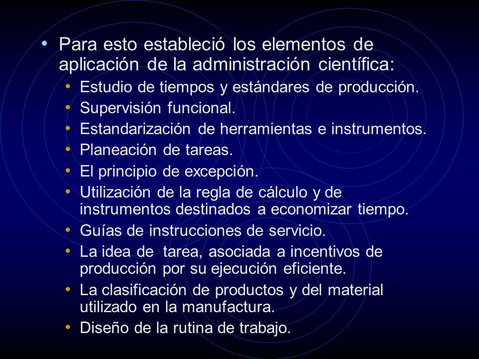 Para esto estableció los elementos de aplicación de la administración científica: