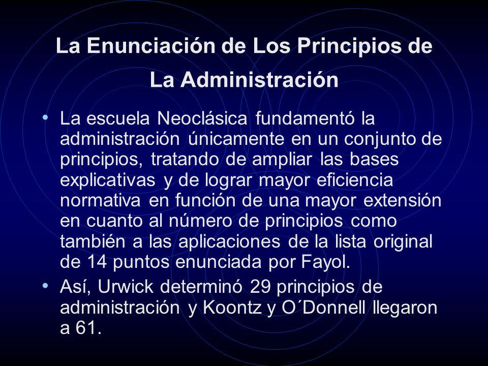 La Enunciación de Los Principios de La Administración