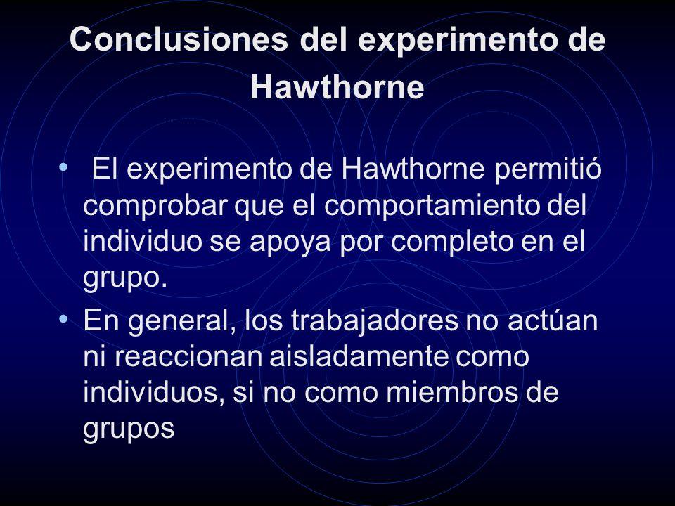 Conclusiones del experimento de Hawthorne