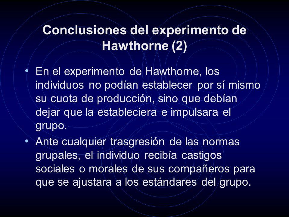 Conclusiones del experimento de Hawthorne (2)