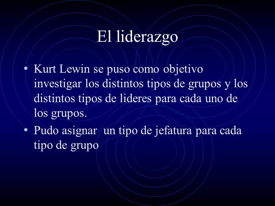 El liderazgo Kurt Lewin se puso como objetivo investigar los distintos tipos de grupos y los distintos tipos de lideres para cada uno de los grupos.