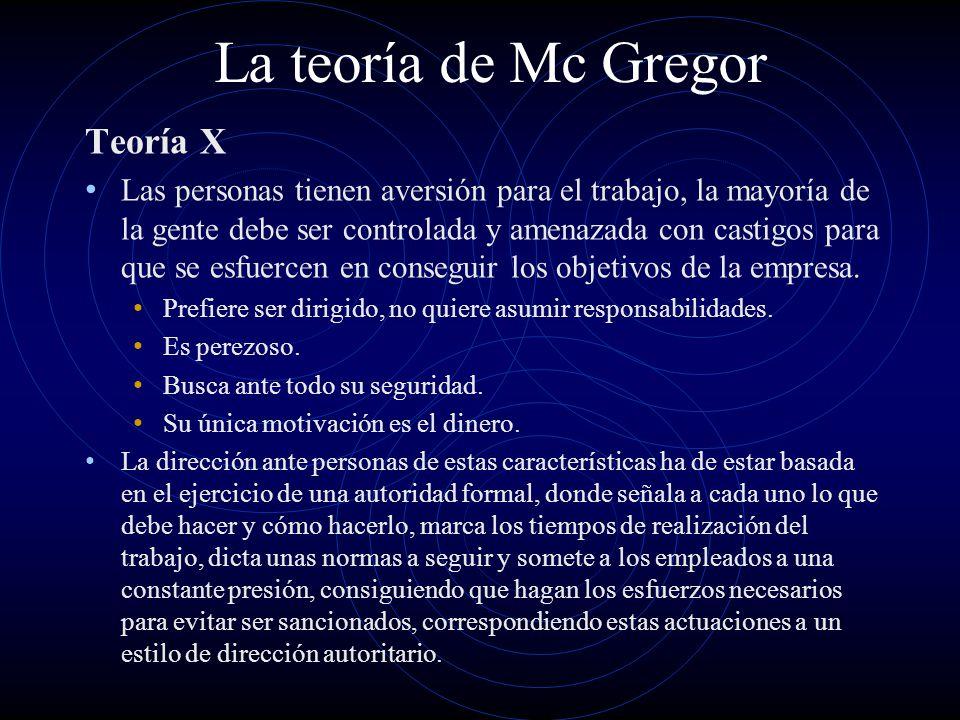 La teoría de Mc Gregor Teoría X