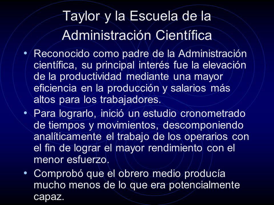 Taylor y la Escuela de la Administración Científica