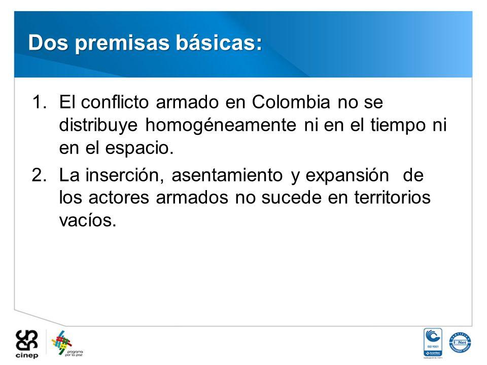 Dos premisas básicas: El conflicto armado en Colombia no se distribuye homogéneamente ni en el tiempo ni en el espacio.