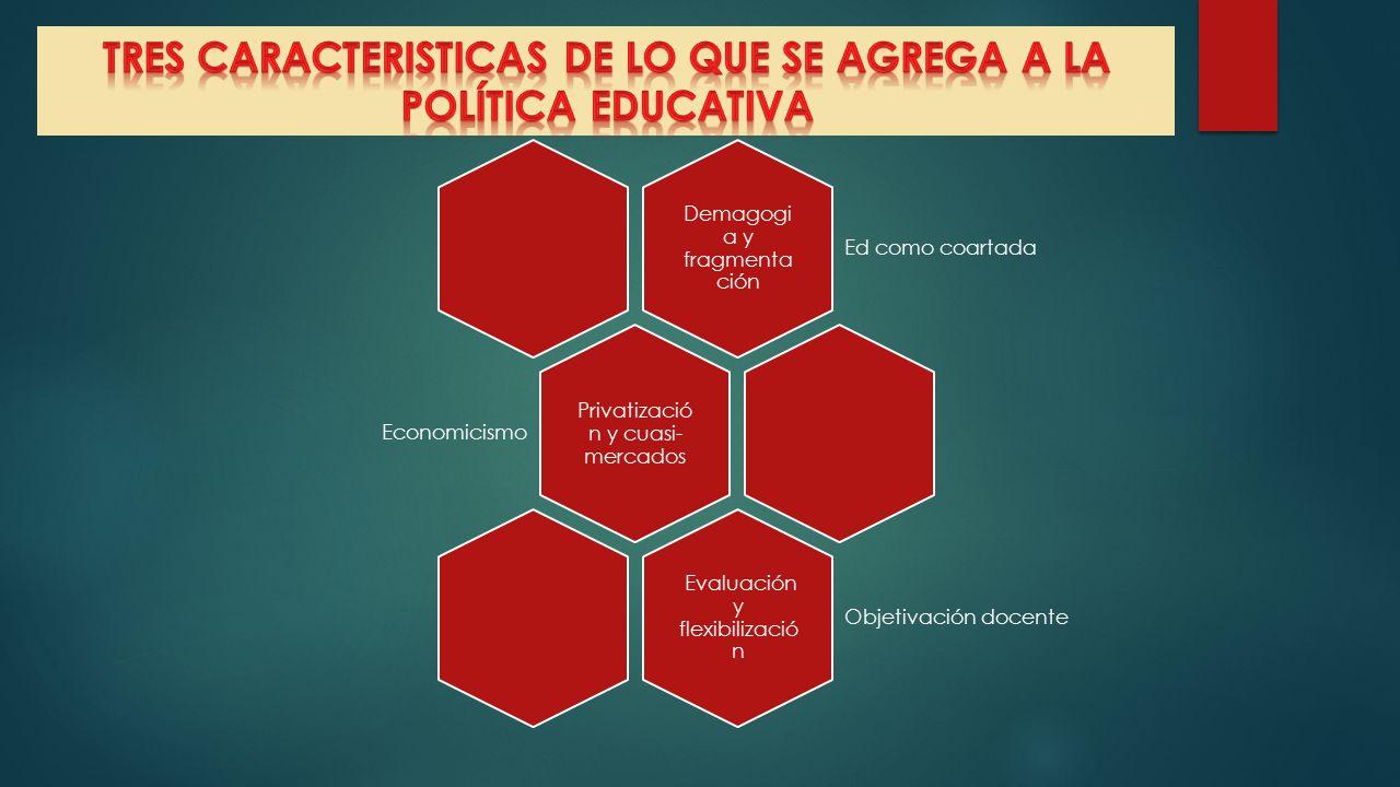 TRES CARACTERISTICAS DE LO QUE SE AGREGA A LA POLÍTICA EDUCATIVA