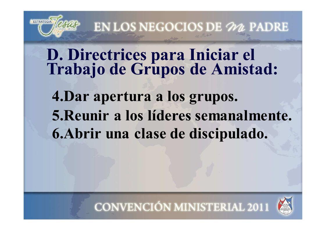 D. Directrices para Iniciar el Trabajo de Grupos de Amistad: