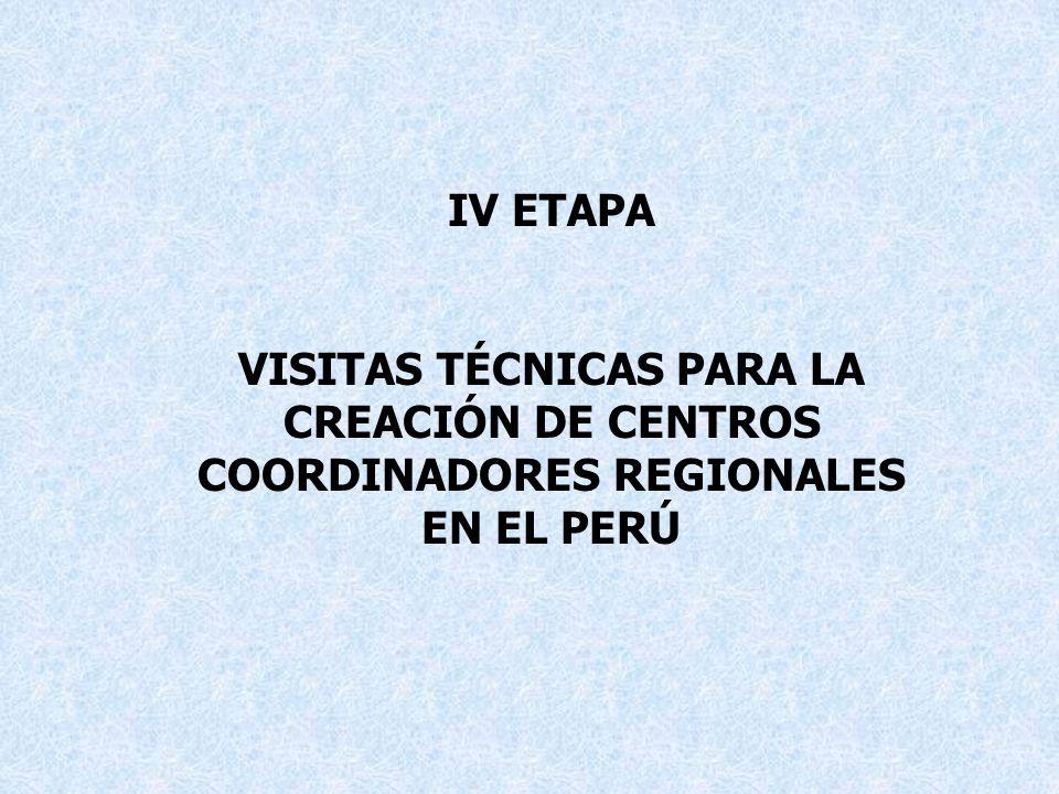 IV ETAPA VISITAS TÉCNICAS PARA LA CREACIÓN DE CENTROS COORDINADORES REGIONALES EN EL PERÚ