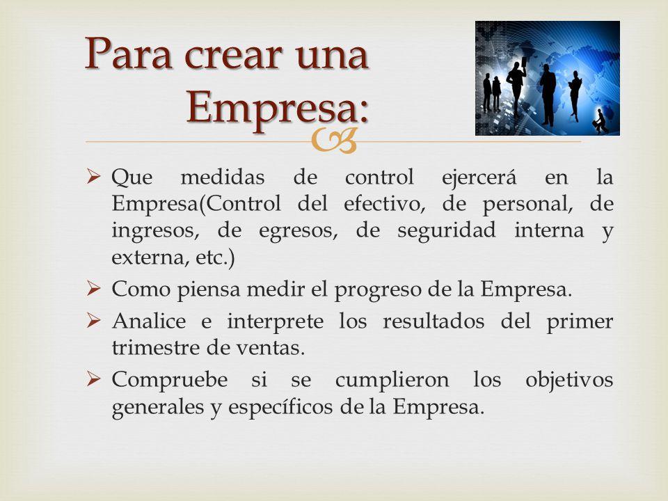 Para crear una Empresa: