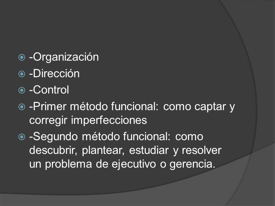 -Organización -Dirección. -Control. -Primer método funcional: como captar y corregir imperfecciones.
