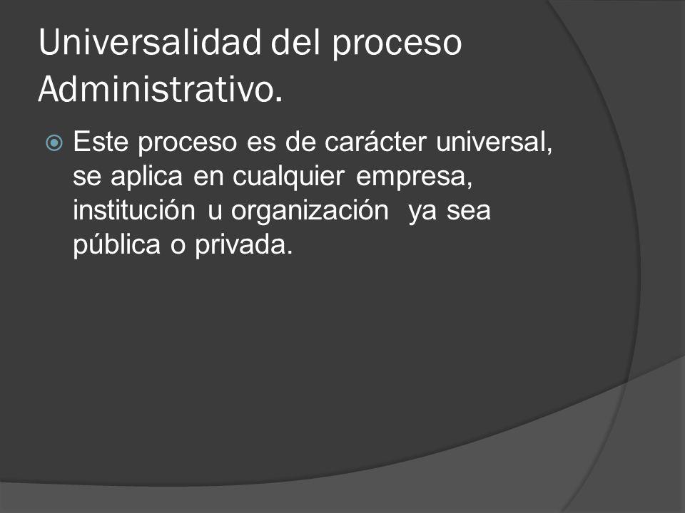 Universalidad del proceso Administrativo.