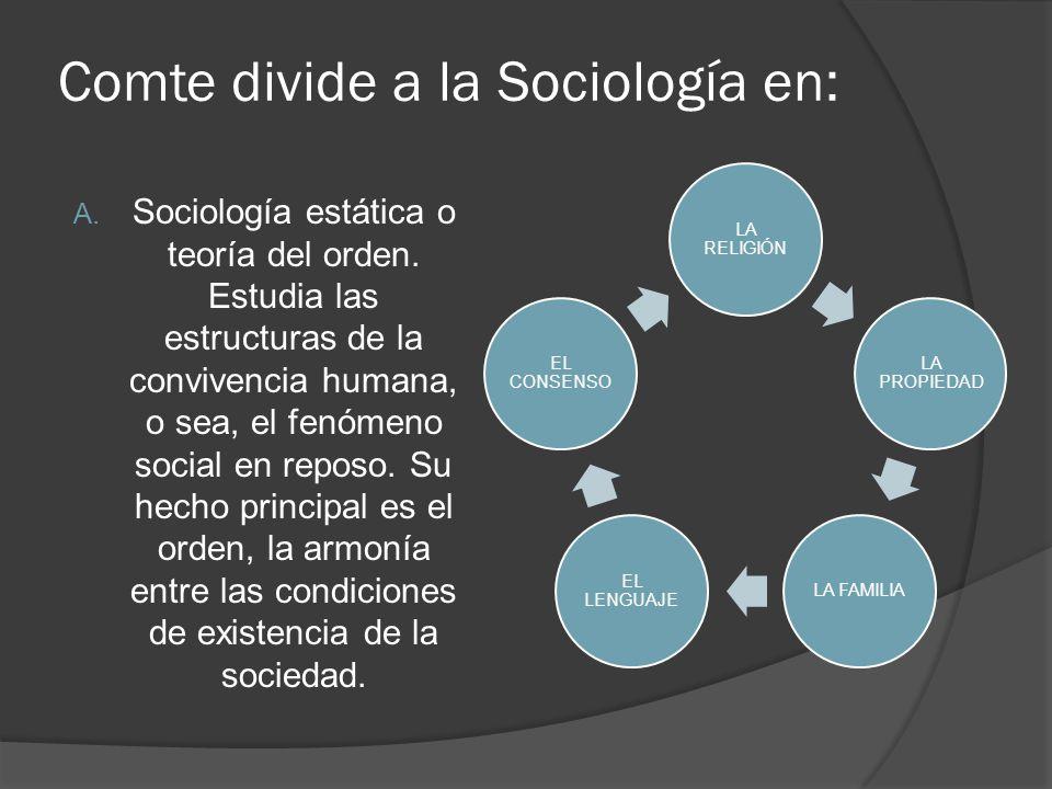 Comte divide a la Sociología en: