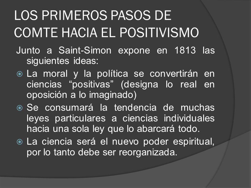 LOS PRIMEROS PASOS DE COMTE HACIA EL POSITIVISMO