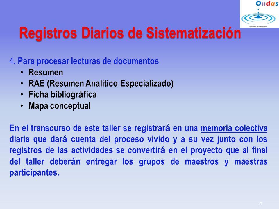 Registros Diarios de Sistematización