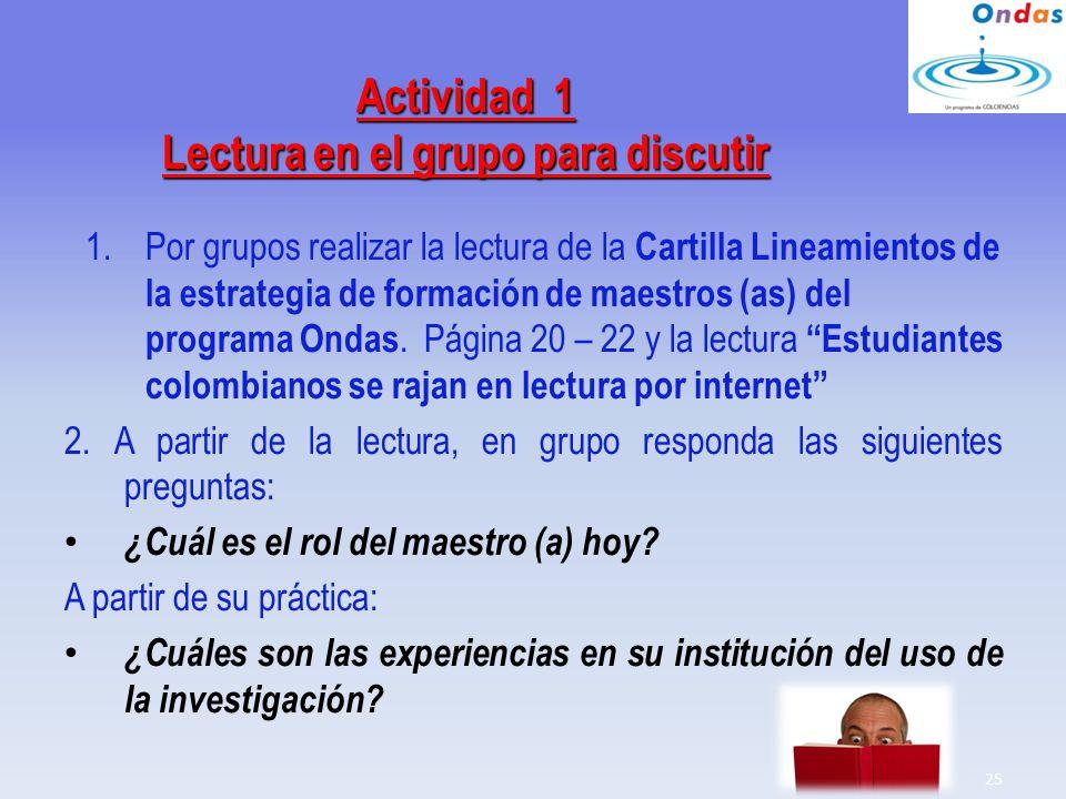 Actividad 1 Lectura en el grupo para discutir