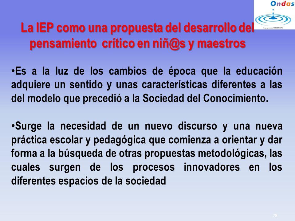 La IEP como una propuesta del desarrollo del pensamiento crítico en niñ@s y maestros