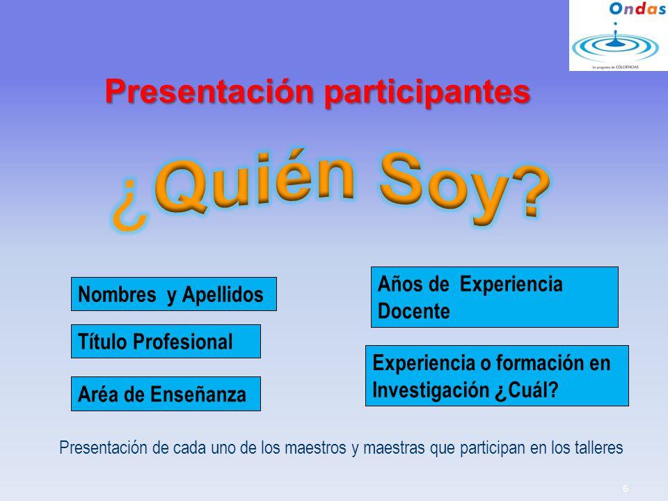 ¿Quién Soy Presentación participantes Años de Experiencia Docente