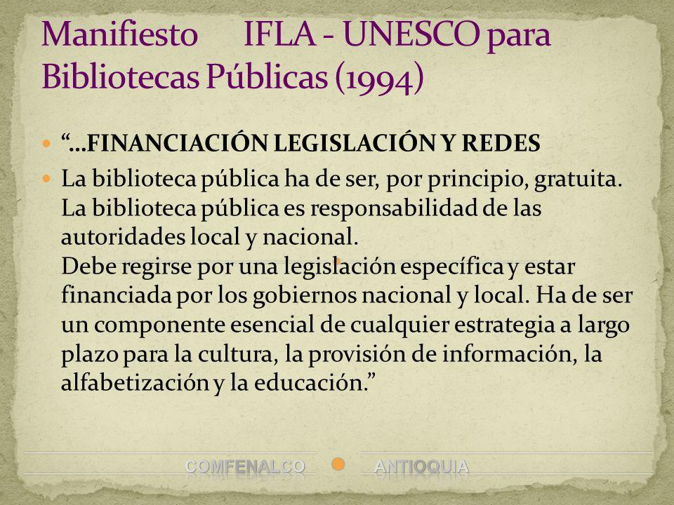 Manifiesto IFLA - UNESCO para Bibliotecas Públicas (1994)