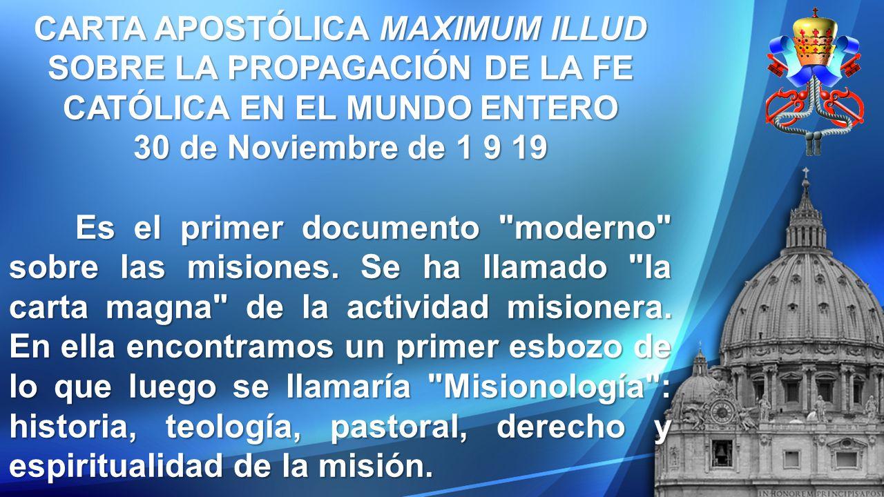 CARTA APOSTÓLICA MAXIMUM ILLUD