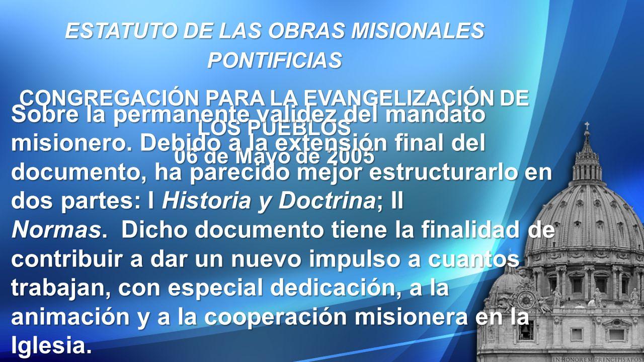 ESTATUTO DE LAS OBRAS MISIONALES PONTIFICIAS