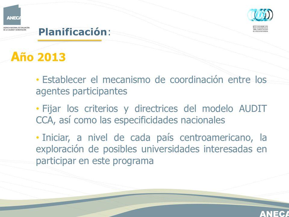 Planificación: Año 2013. Establecer el mecanismo de coordinación entre los agentes participantes.