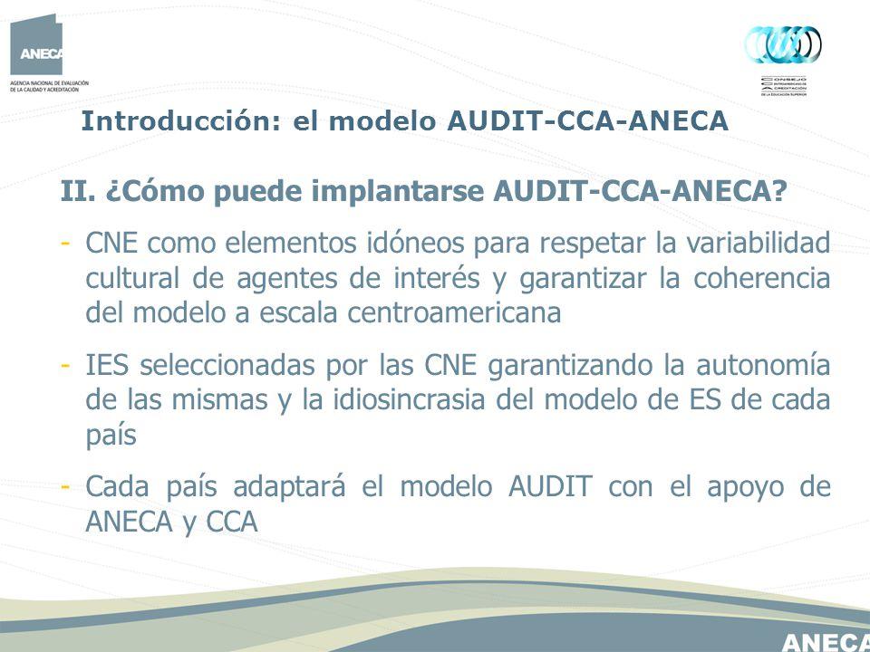 II. ¿Cómo puede implantarse AUDIT-CCA-ANECA