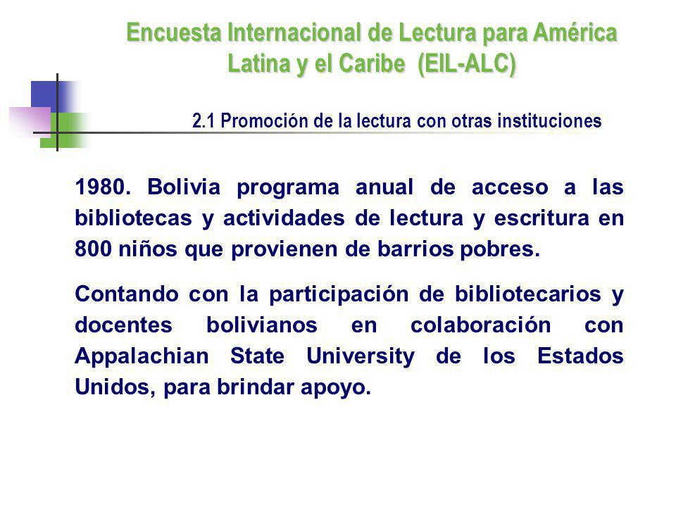 2.1 Promoción de la lectura con otras instituciones