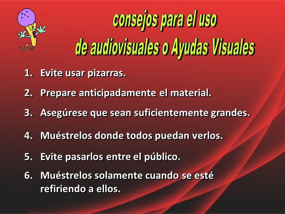 de audiovisuales o Ayudas Visuales