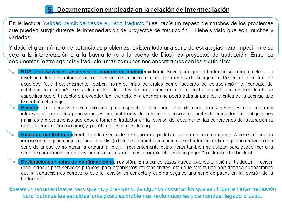 5.- Documentación empleada en la relación de intermediación