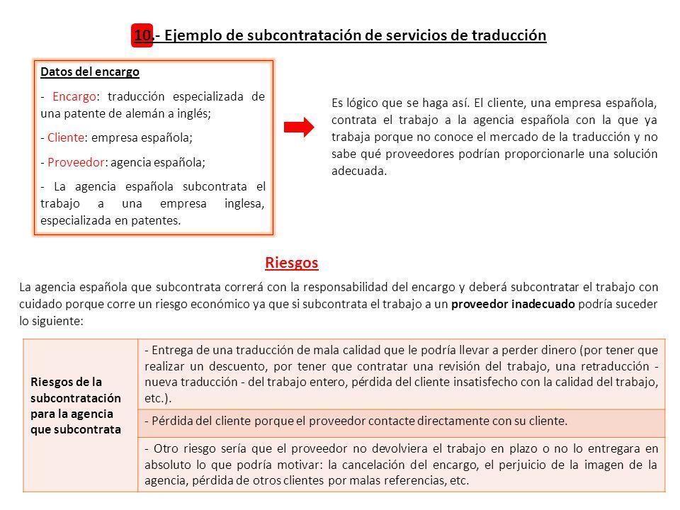 10.- Ejemplo de subcontratación de servicios de traducción