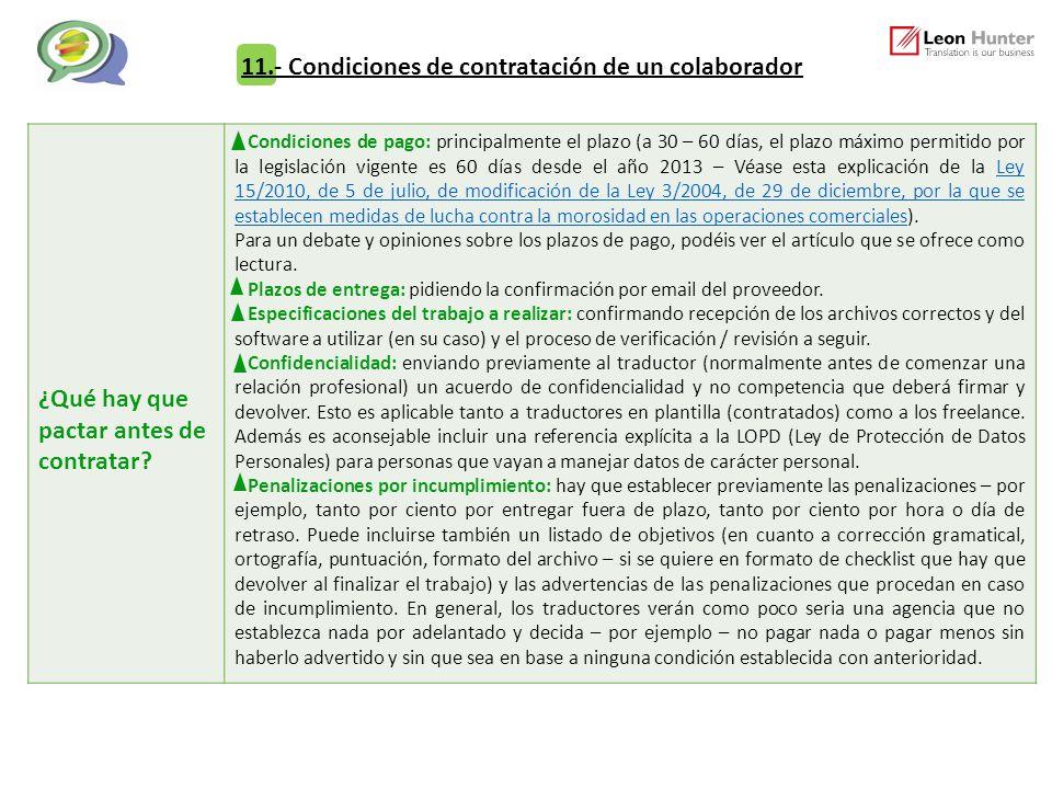 11.- Condiciones de contratación de un colaborador