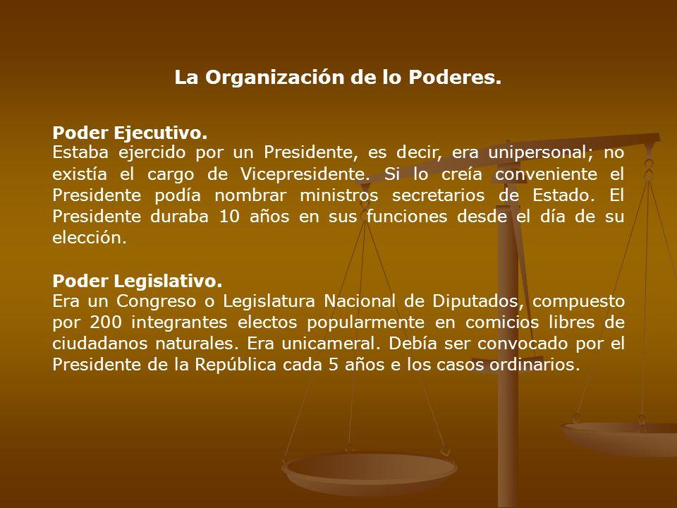 La Organización de lo Poderes.