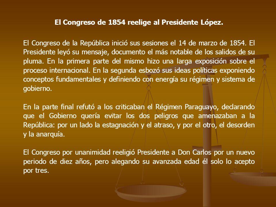 El Congreso de 1854 reelige al Presidente López.