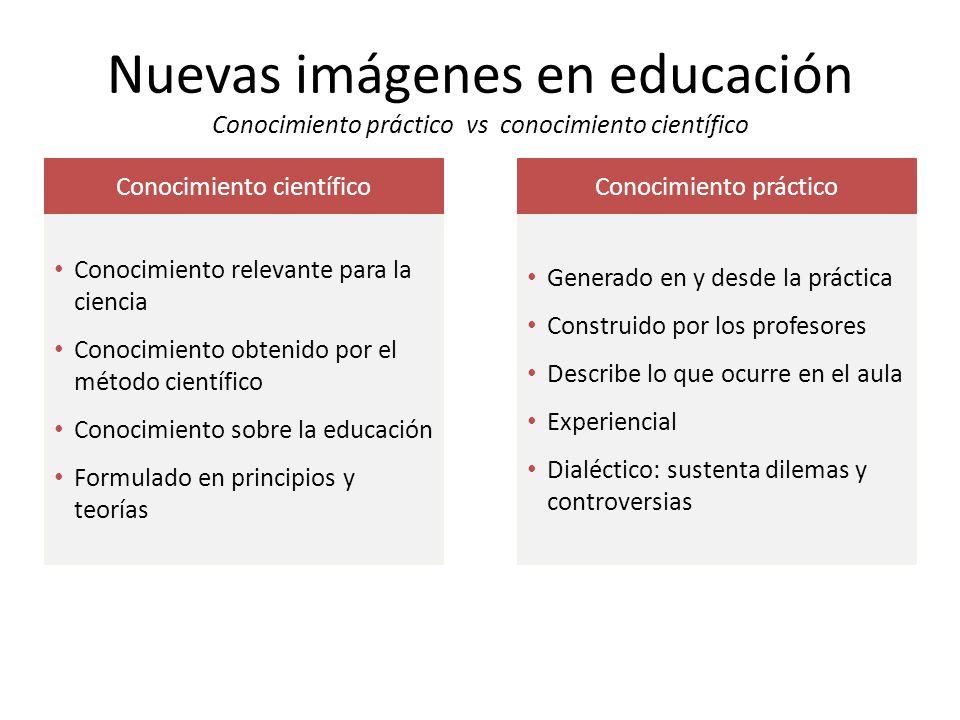Nuevas imágenes en educación Conocimiento práctico vs conocimiento científico
