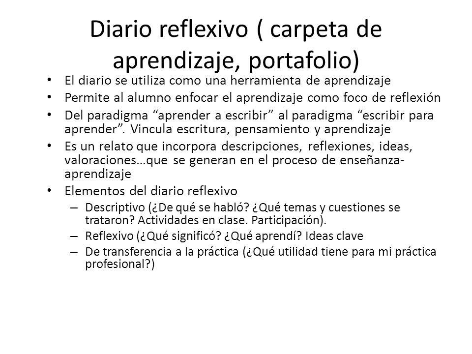 Diario reflexivo ( carpeta de aprendizaje, portafolio)