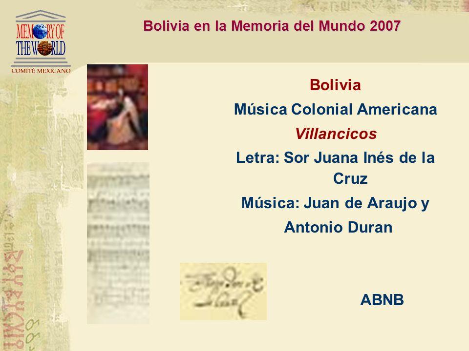 Bolivia en la Memoria del Mundo 2007