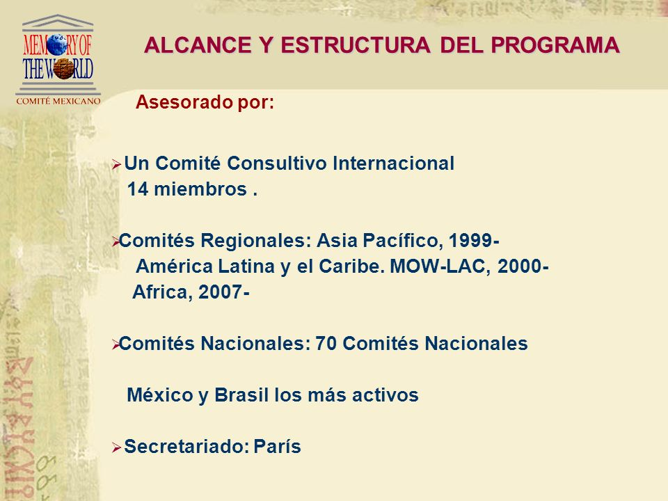 ALCANCE Y ESTRUCTURA DEL PROGRAMA