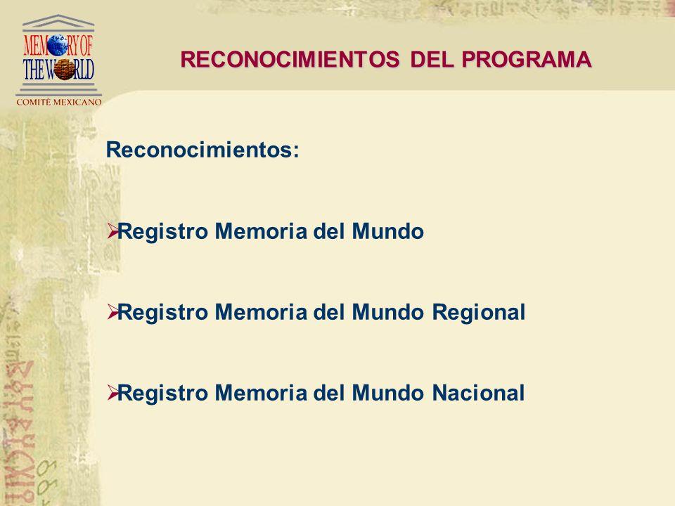 RECONOCIMIENTOS DEL PROGRAMA