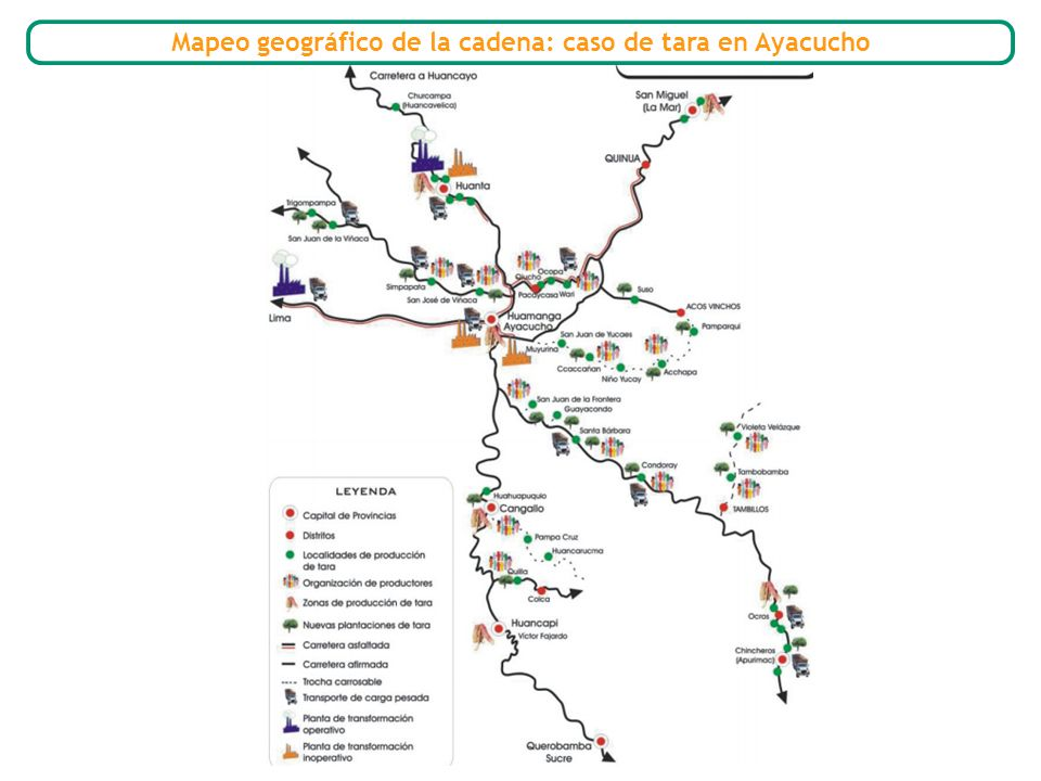 Mapeo geográfico de la cadena: caso de tara en Ayacucho