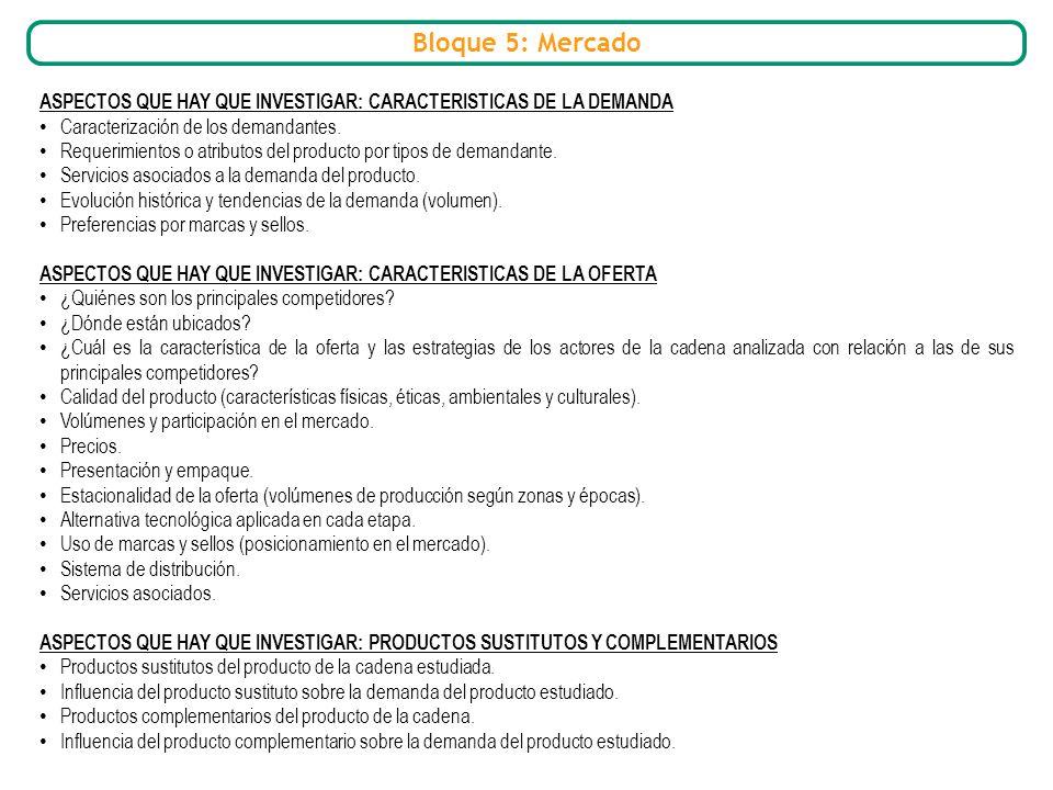 Bloque 5: Mercado ASPECTOS QUE HAY QUE INVESTIGAR: CARACTERISTICAS DE LA DEMANDA. Caracterización de los demandantes.