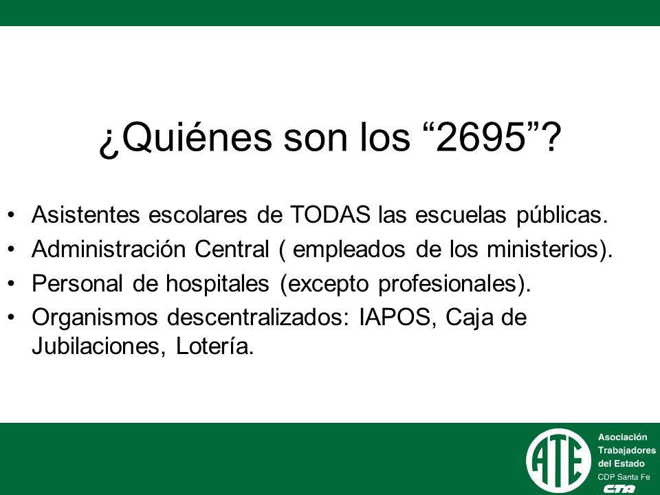 ¿Quiénes son los 2695 Asistentes escolares de TODAS las escuelas públicas. Administración Central ( empleados de los ministerios).