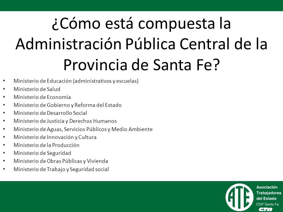 ¿Cómo está compuesta la Administración Pública Central de la Provincia de Santa Fe