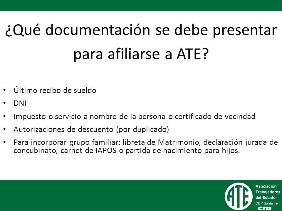 ¿Qué documentación se debe presentar para afiliarse a ATE