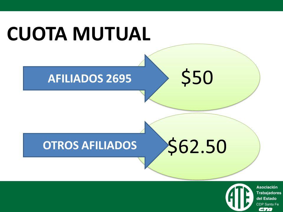 CUOTA MUTUAL $50 AFILIADOS 2695 $62.50 OTROS AFILIADOS