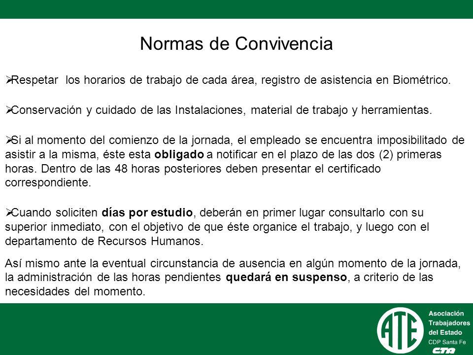Normas de Convivencia Respetar los horarios de trabajo de cada área, registro de asistencia en Biométrico.