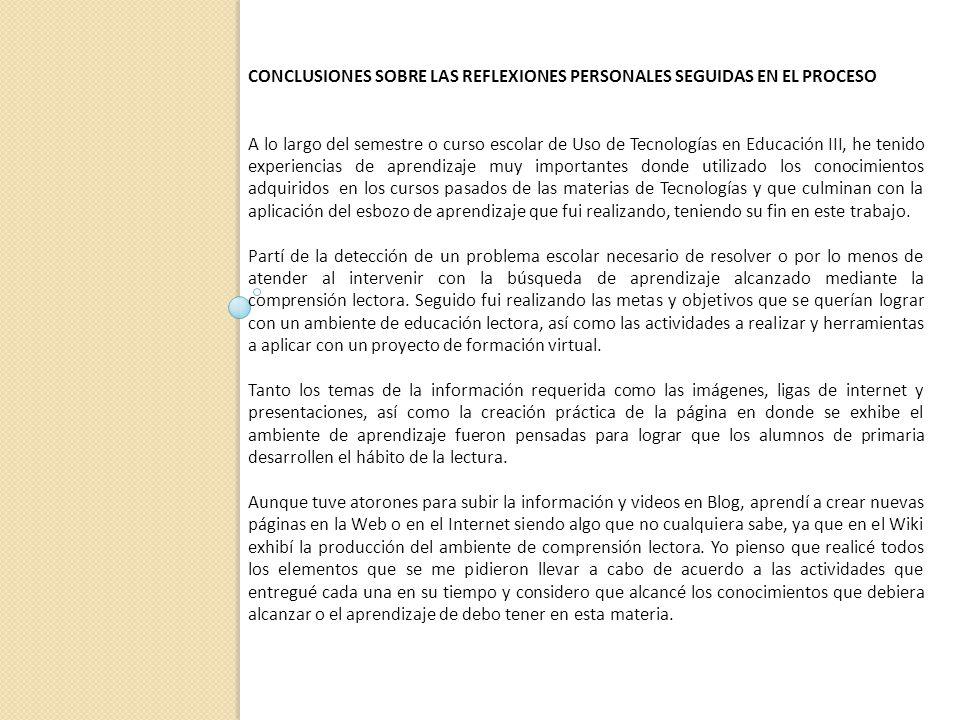 CONCLUSIONES SOBRE LAS REFLEXIONES PERSONALES SEGUIDAS EN EL PROCESO