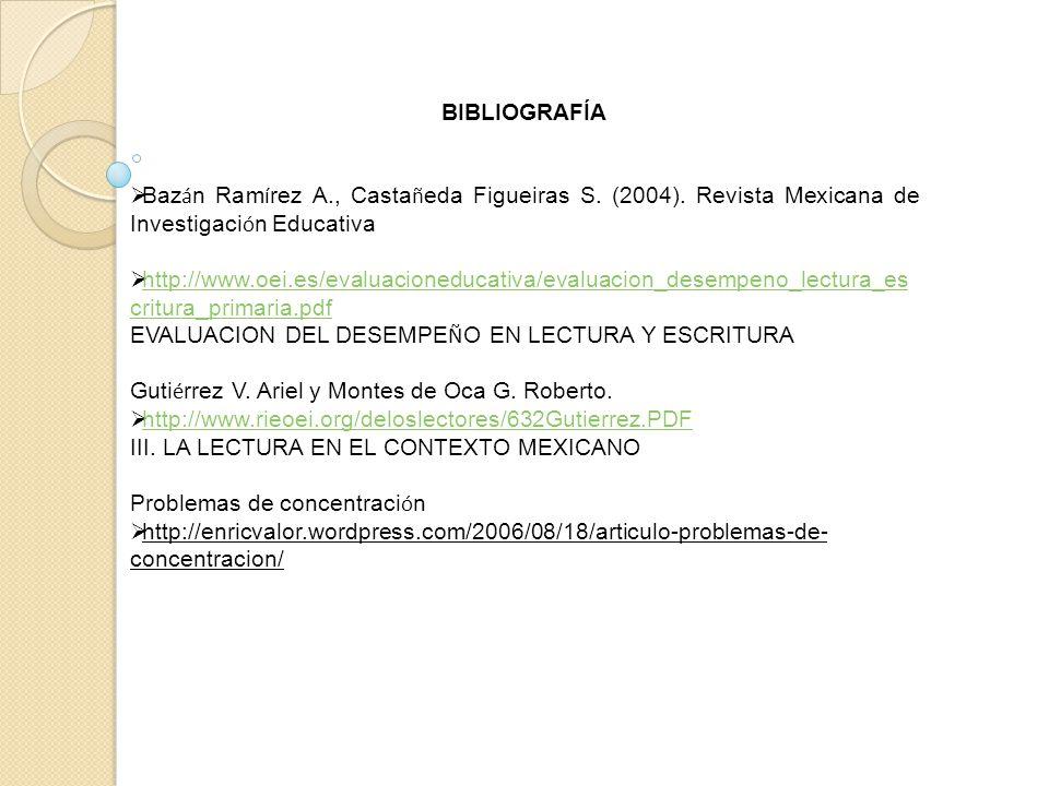 BIBLIOGRAFÍA Bazán Ramírez A., Castañeda Figueiras S. (2004). Revista Mexicana de Investigación Educativa.