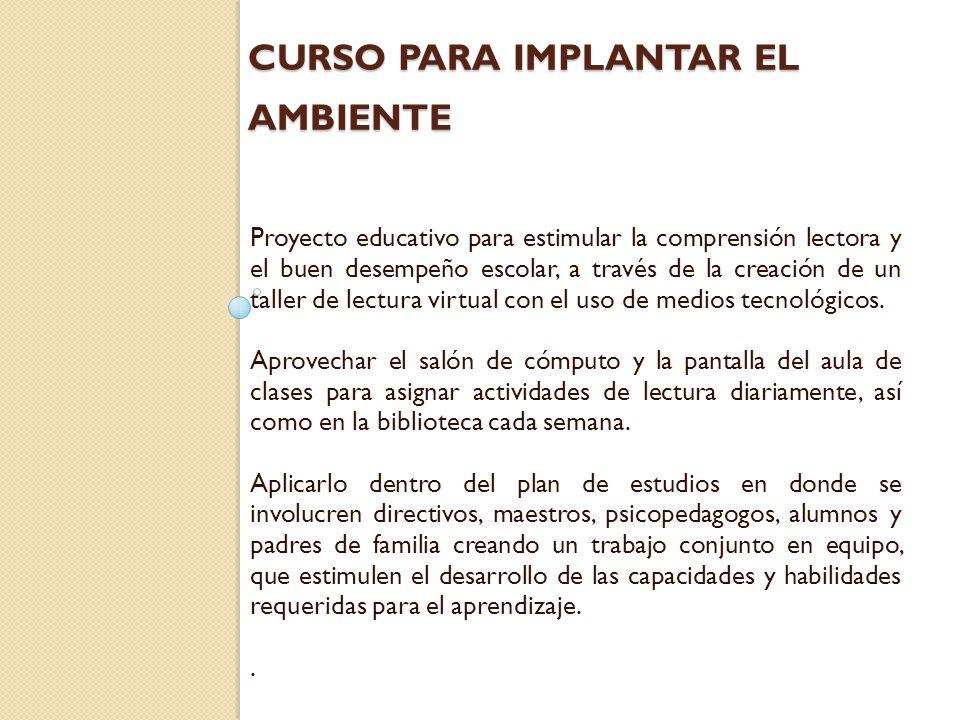 CURSO PARA IMPLANTAR EL AMBIENTE